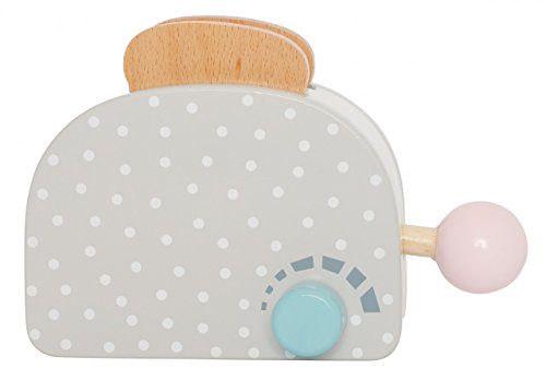 Toaster Seite (Toaster - grau mit weißen Punkten / mit Hebel und Drehschalter inkl. Klickgeräuschen, mit 2 Toastscheiben / Material: Holz / für Kinder ab 2 Jahren geeignet)
