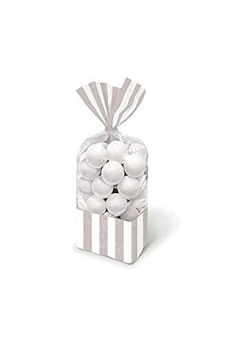 Amscan Gestreifte Süßigkeitentütchen, Silber