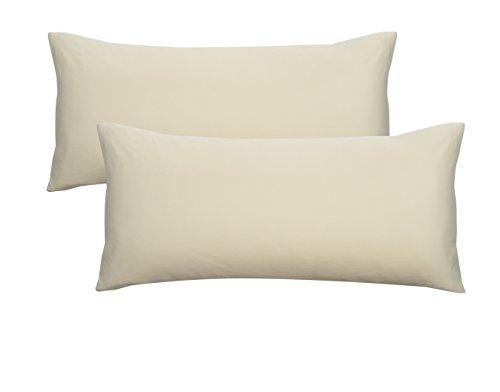 Biberna 0077144 Jersey-Kissenhüllen aus 100 % Baumwolle mit Reißverschluss, 2er-Pack, 40 x 80 cm Natur, 27 x 18 x 3 cm -