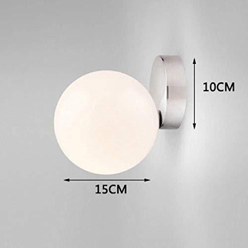 Moderne led glas wandleuchte wohnzimmer schlafzimmer milch weiß global glasschirm glaskugel beleuchtung @ dia15cm silver_nature weiß (3500-5500k) -