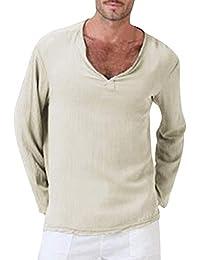 1a422558e8 Camiseta Hombre Hombre Ropa Yoga Tops Blusa para Manga Camiseta Ocasional  Hombre Larga Algodón Lino Tailandés