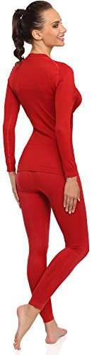 Merry Style Damen Funktionsunterwäsche Set lange Unterhose plus langarm Shirt thermoaktiv 06 110 120 Rot