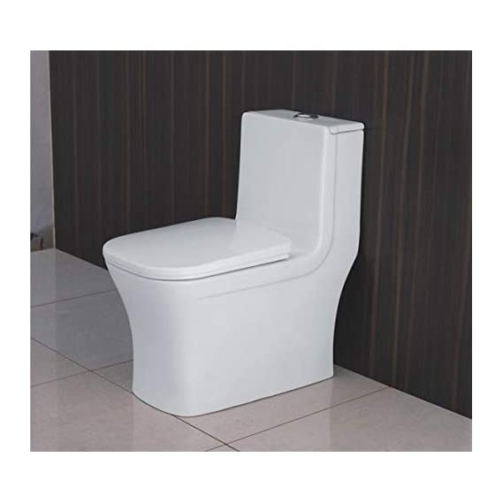 Ceramic Western One Piece Water Closet Floor Mounted Square S Trap - White