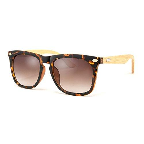 YXF Sonnenbrille Sonnenbrille Polarisierte Bambus Beine Große Rahmen Outdoor Fahren Dekoration Bequem und strapazierfähig UV-Schutz Damen und Herren Brillen Polarisierte Leopard Frame Brown Lens