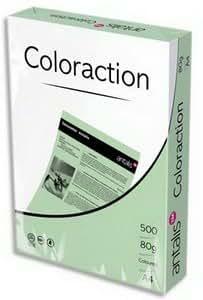Lot de 5 Ramette de 500 feuilles papier couleur COLORACTION copieur, laser, jet d'encre 80g A4 iceland/gris
