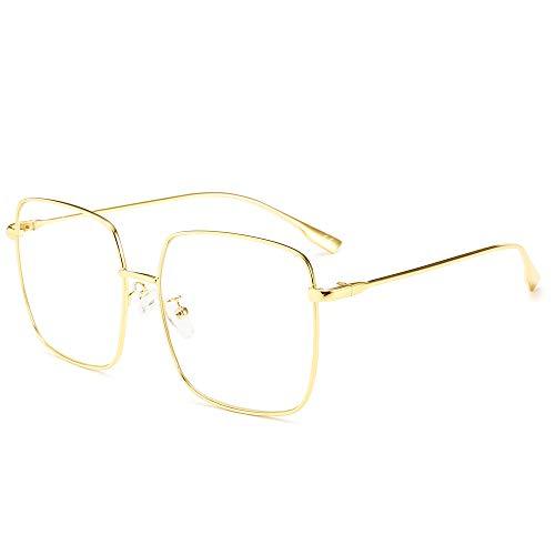 AMZTM Mode Sonnenbrillen für Damen UV Schutz Linse Groß Quadratischer Rahmen Brillen zum Fahren Reise Blendschutz HD Vision (Gold Rahmen Saubere Linse)
