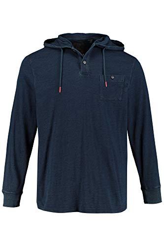 7 Kapuzen-langarm-t-shirt (JP 1880 Herren große Größen bis 7XL, Hoodie im Jeanslook, Kapuze mit Bindeband, Kurze Knopfleiste, Brusttasche, Lange Ärmel, Navy 7XL 720172 76-7XL)