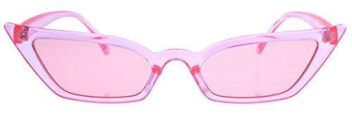 Super schmale Cat Eye Sonnenbrille im Stil der 40er 50er Jahre Rockabilly Blogger Fashion CS13 (Rosa transparent)