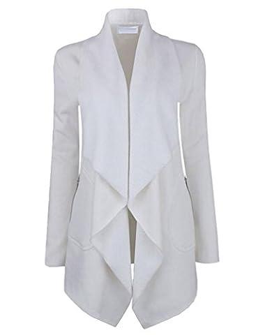 YuanDian Femme Automne Causal Couleur Unie Large Lapel Cardigan Long Chaud Manches Longues Veste Gilet Manteau Blanc 2XL