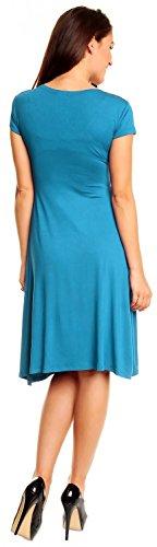Zeta Ville - damen - Jersey Kleid - Kurzarm - Sommerkleid - Cocktailkleid - 108z Cyan