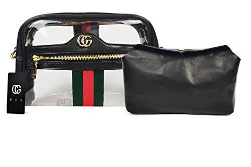 CG BAG Transparente Umhängetasche für Damen, durchsichtige Stadion-Tasche, die transparente Tragetasche mit Kette, für Damen, Messenger-Handtasche für Stadion zugelassen, Royal Black, Einheitsgröße Black Transparent Tasche
