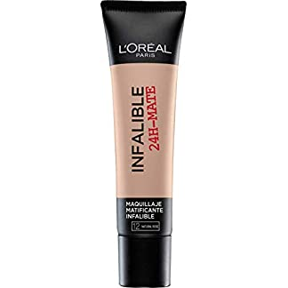 L'Oréal Paris 24H Mate, Base Maquillaje Matificante Larga Duración, Tono de Piel Claro 12 Naturel Rosé – 35 ml