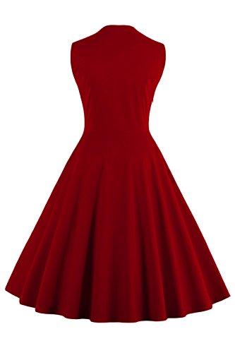 Babyonlinedress Robe de Soirée/Bal Courte Rétro Vintage Impression année 1950 Style Audrey Hepburn Rockabilly Swing sans manche avec Boutons Grande Taille Fleur Bordeaux