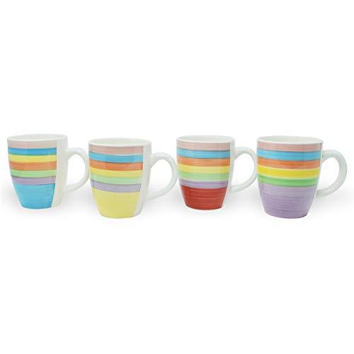DRULINE 4er-Set Kaffeebecher Porzellan Gelb, Blau, Lila, Rot 8,5 cm x 10 cm