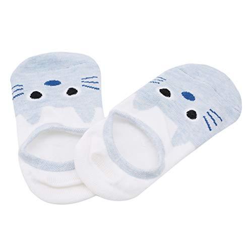 Bigsweety Paar 5 Frauen Low Cut Liner Socken Rutschfeste Baumwolle Versteckte Boot Unsichtbare Socken (Hellblau) (Frauen Für Boot-liner)