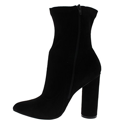 Viva Damen Socke Fit Spitze Mode Schick Kleid Block Ferse Stiefeletten Schwarz