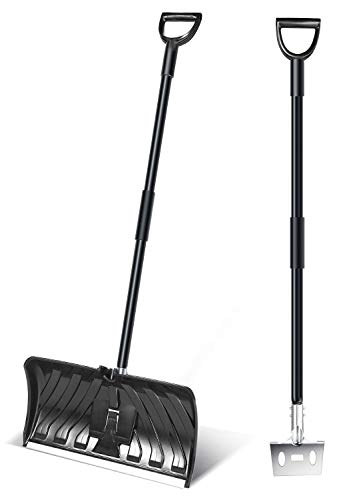 Snow Pusher (H.Yue 2-in-1 Snow Shovel & Ice Scraper, 55-INCH Collapsible Multipurpose Snow Pusher Shovel, New Efficient Snow Remover)