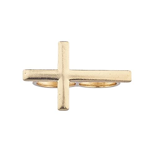 Lux Accessories Gold Tone Sideways Cross Double Finger
