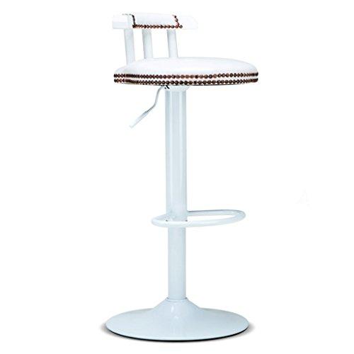 ZWL Tabouret de bar, levage et rotation tabouret de bar en bois massif rétro tabouret haut avant mode (Couleur : Blanc)