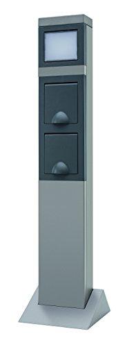 REV Ritter 0087750712 SteelCraft 2-Fach Steckdose mit Wegeleuchte| Außenbereich| Steckdosensäule| Gartensteckdose| 2 spritzwassergeschützte Schutzkontaktsteckdosen| Edelstahl