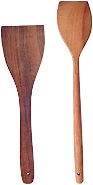 ECOPAL - Wooden Cooking Spoon Utensils Set for Non Stick cookware with Special Handle - Handmade Teak Wood Spa