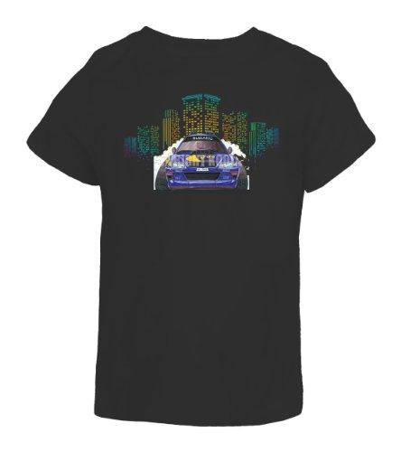 koolart-cartoon-caricature-style-of-subaru-mcrae-rally-car-98-kids-t-shirt-black-11-12-years