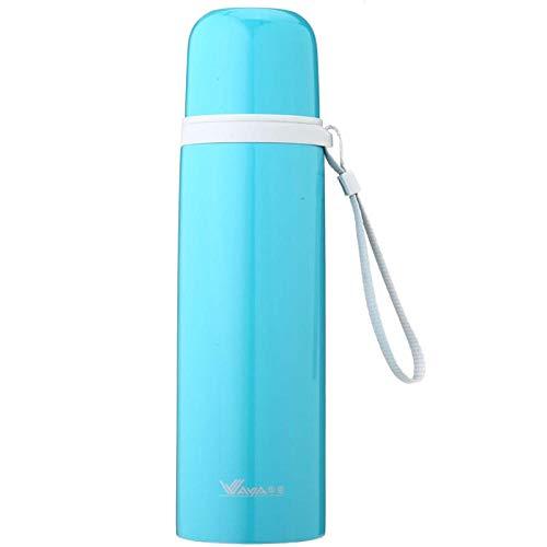YHYZBZ Vakuum Isolierte Edelstahl Trinkflasche,BPA Frei Wasserflasche Auslaufsicher Thermosflasche,Kugel, himmelblau 480ml für Kinder Erwachsener,Schule Sport Outdoor Büro