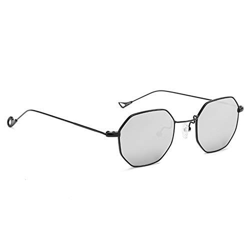 Aeici Sonnenbrille Damen Polarisiert Metall + PC Retro AChteckige Unregelmäßige Sonnenbrille Schwarzes Silber Sonnenbrillen
