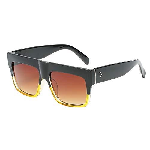 YLNJYJ Sonnenbrillen Modemarke Designer Vintage Dame Platz Sonnenbrille Frauen Kim Kardashian Rivet Eyewear Flat Top Sonnenbrille Weibliche