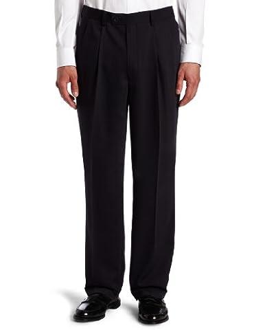 Louis Raphael Men's Big Gabardine Pleated Dress Pant, Navy, 48x32