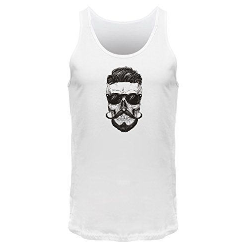 FABTEE Hipster Skull Beard - Tank Top Träger Shirt Männer Weiß