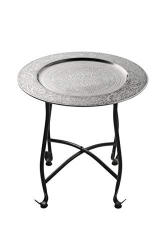 Petite Table basse orientale pliante en métal Sule 40cm ronde | Table de Chevet marocaine | Guéridon pliant Table d'appoint démontable | Décoration de Salon de Maison en Design indien marocain