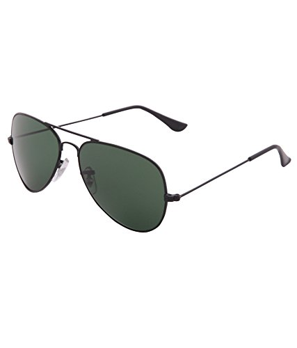 Gansta polarised unisex aviator sunglasses - (MH-1001-Blk-G15|58|Green Lens)