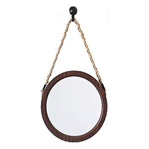 Gjrff Badezimmerspiegel Kosmetikspiegel Retro hängende Spiegel Hanfseil dekorative Wand-Kosmetikspiegel/Flachspiegel Badmöbel