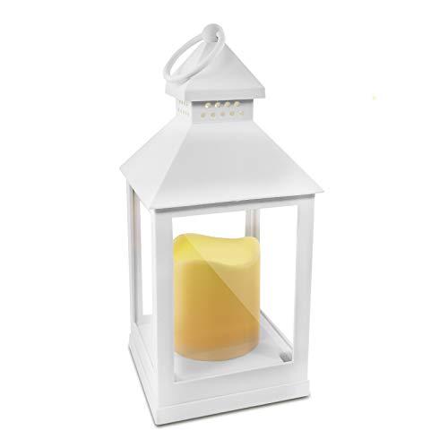 Eaxus® LED Windlicht mit realistischer Kerze - Laterne/Gartenlaterne für Drinnen und Draußen, Weiß