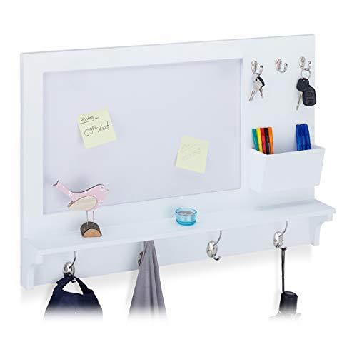 Relaxdays Wandgarderobe mit Memoboard, Metallhaken, Ablage, Behälter, zum Aufhängen, schmal, MDF, HBT: 53x76x10cm, weiß