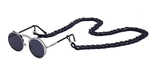 BOZEVON Unisex Damen Herren Retro Metall Steampunk Style Circle Sonnenbrille Flip Up Runde Linse mit Kette, Style A 7