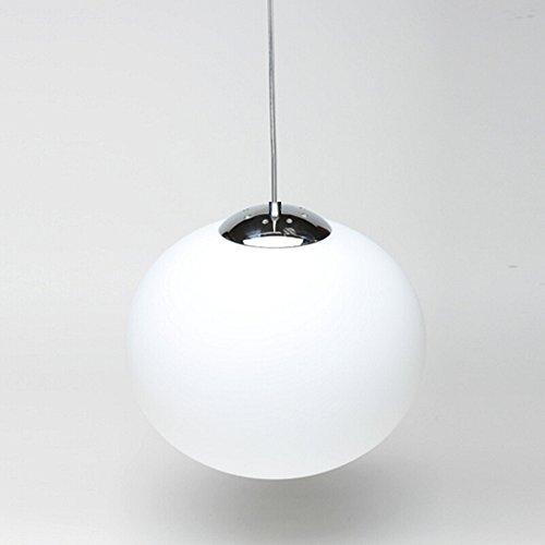 Lantu E27 Globe Anhänger gebürstet Stahl Lampe Schirm Opal Weiß Glas Globe Anhänger Deckenleuchte(15cm) (Deckenleuchte Globe)