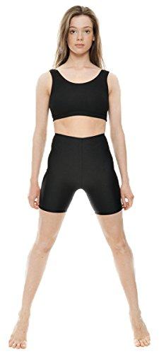KDT005-Ladies-Girls-Childrens-Black-Shiny-Lycra-Dance-Gym-Sports-Running-Cycle-Hot-Pants-Shorts-By-Katz-Dancewear
