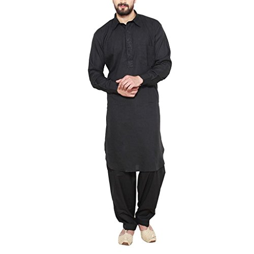 5. Focil black pathani kurta pyjama for men