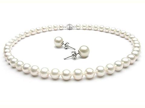 TreasureBay Stunning 8-9mm AA Grade Freshwater Pearl Necklace Choice of Length: 17