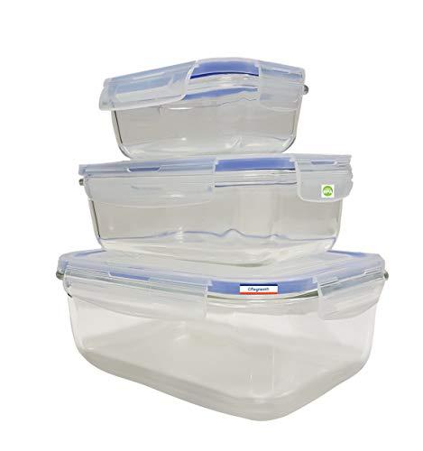 Cflagrant Frischhaltedosen aus Glas, rechteckig, sehr hohe Temperaturbeständigkeit (von -40 bis +600 °), Deckel mit Silikondichtungen, zum Anklipsen, aus Kunststoff, BPA-frei, für Kühlschrank, Backofen und Mikrowelle