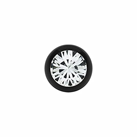 1,6 mm - 6 mm - LR - Light Rose/ Hell Rosa - Black Steel - Schraubkugel - mit Kristall (Piercing Schraubkugel Aufsatz für Stäbe, Labrets etc.)