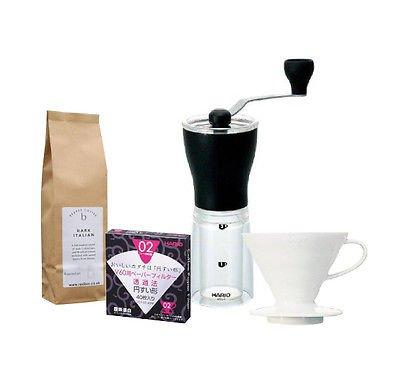 Hario Mini Mill, Hario V60 gocciolatore 02, in plastica, 40 filtri & Caffè torrefatto