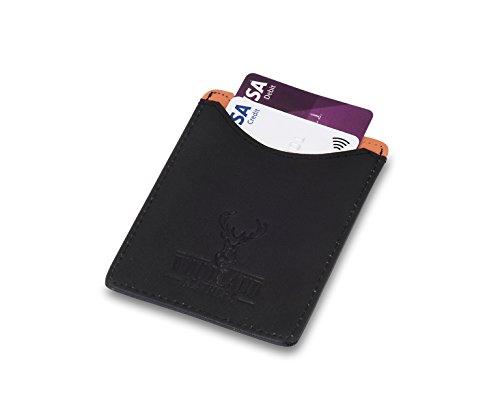 Woodland Leathers Deluxe schwarz und orange Leder Slim Line Tasche Kreditkarte Fall und Geld Clip (Executive-geld-clip)