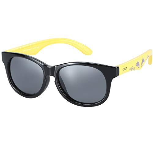 DUCO kinder sport style polarisierenden sonnenbrillen flexiblen rahmen für die jungen und mädchen K018 (Schwarz/Gelb)