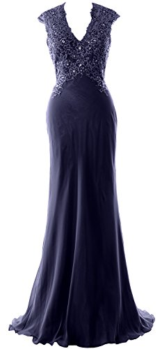 MACloth Elegant V Neck Evening Formal Gown Lace ChiffonMother of the Bride Dress Dark Navy