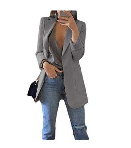 CuteRose Womens Open Front Lapel Skinny Elegant Pure