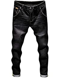 Elecenty Pantaloni casual da uomo Moda autunno denim da uomo Pantaloni jeans  lavati vintage da lavoro 9b1099df01fd