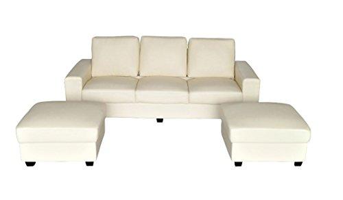 Vintage 3er Designer Sofa Outlet 3-Sitzer + 2 Hocker Set